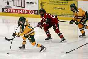ff17a438b Clarkson's Lauren Gabel (19) blasts a shot past the St. Lawrence University  goalie to score the second goal of the game lifting the Golden Knights to a  2-1 ...