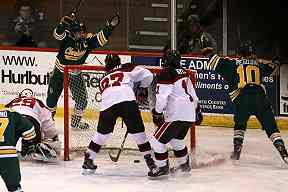 1418fd999 Clarkson's right winger Elizabeth Giguere (7) blasts a shot past St.  Lawrence University goalie Grace Harrison (29) to quickly jump to a 2-0  lead over the ...